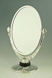 table mirror: an oval art deco silver plated table mirror atelier raynaud france   inch