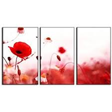 canvas prints red poppy flower print on canvas framed and ready to hang modern home and office wall decor poppy flower canvas designs 3 panel print wall  on red poppy flower wall art with amazon spirit up art huge canvas print wall art red poppy