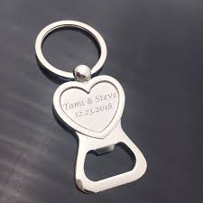 personalized love heart bottle opener keychain wedding favor custom engraved bride groom personalized wedding gift for guests