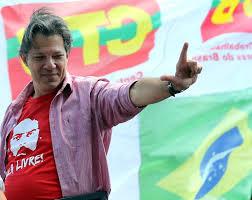 Resultado de imagen para Jair Bolsonaro y el candidato del PT apoyado por Lula da Silva, Fernando Haddad.