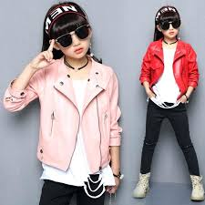 toddler pink leather jacket girls new spring autumn fashion kids coat for baby toddlers teens children