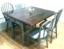 rustic drop leaf dining table vintage 4 chairs extending shabby chic threshold set round for small