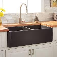 signature hardware 33 reinhard double bowl fireclay farmhouse sink in dark gray