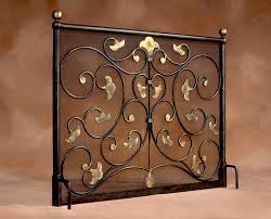 fireplace screen with beds and scrolls with flower tip design