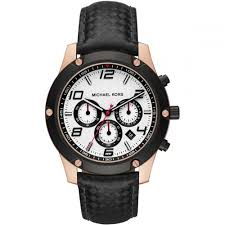 michael kors men s caine chronograph leather watch