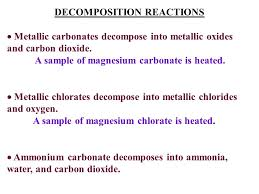 ammonium carbonate decomposes into ammonia water and carbon dioxide decomposition reactions