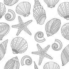 海の貝黒と白の塗り絵のシームレス パターン ストックベクター