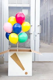 balloon surprise via studio diy nothing says birthday surprise like a big mysterious box with your kid s name on it just begging to be opened