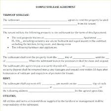 Sample Sublease Agreement Roommate Sublease Agreement Free Form Template Sub Lease