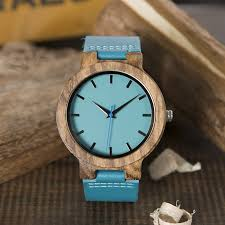 men s blue face wooden watch with genuine leather strap
