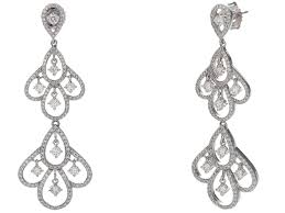 certified g set diamond chandelier earrings in 14k white gold g h si1 2 69 ct twt