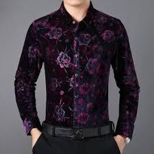 Shirts Men Gold Black Leopart Print Shirt Velvet Mens Shirt ... - Vova