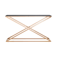 houseology collection mayfair console table smoked glass gold