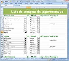 Lista De Compras Supermercado Tutorial Como Fazer Lista De Compras No Excel