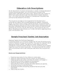 Job Description Sample Teacher Preschool Teachers Aide Job Brilliant Ideas  Of Kindergarten Teacher Job Duties Resume