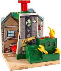 Fisher Price Wooden Railroad Maron Lights Sounds Signal Shed Fisher Price Thomas Friends Wooden Railway Steamworks Lift And Repair Train Set Battery Operated