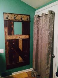 old door as towel rack in guest room
