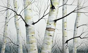 birch painting birch trees in the forest by christopher shammer by christopher shammer