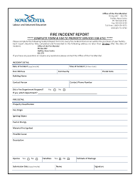 Fire Incident Report Form Templates At Allbusinesstemplates