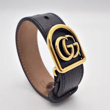 gucci gucci double g leather bracelet black leather 501931 i21n7 8029 men s 2018 cruise collection a bit big wristband antique gold used rank ab