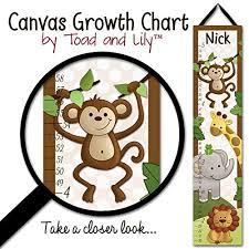 Canvas Growth Chart Jungle Safari Animals In Brown Babies