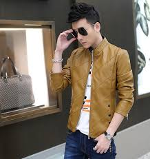 new men s casual leather jackets men fashion slim fit pu leather outerwear coats male plus size