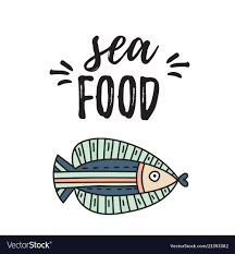 Seafood Quotes Lettering Nature Vector ...