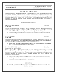 Pleasing Lead Line Cook Resume Sample With Cooks Resume Line Cook