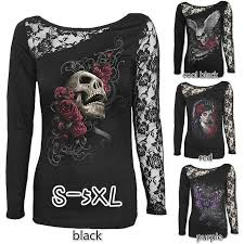 <b>Stylish Round Neck Long</b> Sleeve Top Lace Patchwork Sexy T-shirt ...