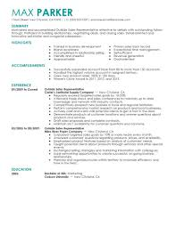 Inside Sales Representative Resume Sample Rep Responsibilities