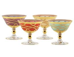 set of 4 milk glass dessert cups with 24k gold design mix colors