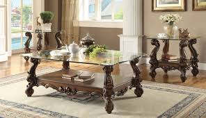 versailles cherry oak clear glass coffee table