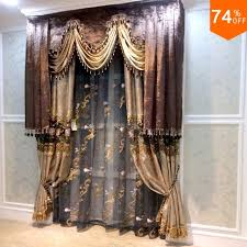 Attractive Brown Valance Beige Embroidery Golden Flowers Curtains Dinning Room Curtain  Classic Design Kitchen Rooms Elegant Bedroom
