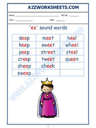 Ruled lines, short vowel sounds, consonant digraphs, and words to copy. A2zworksheets Worksheet Of English Phonics Sounds Ee Sound Words Sound Words Reading English