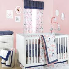 the peanut shell 4 piece baby girl crib bedding set navy blue dot with c pink and grey fl 100 cotton quilt dust ruffle fitted sheet