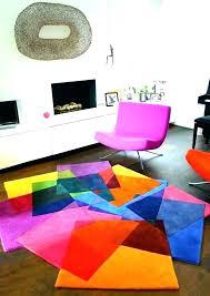 bright area rugs multi color block orange rug blue