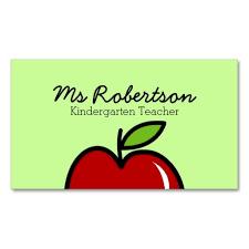 Teacher Business Cards Templates Free Teacher Business Card Template With Red Apple Business Card