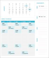 Free College Schedule College Schedule Template 12 Free Word Excel Pdf Format