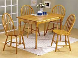image unavailable image not available for color 5pc oak finish wood dining table 4 windsor chairs set