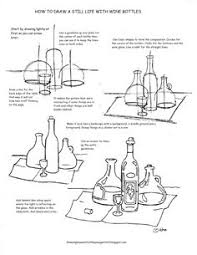 a free printable how to draw worksheet for how to draw a still life with wine drawing