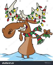 Moose Christmas Lights Cartoon Moose Dressed Christmas Lights Wearing Stock Vector
