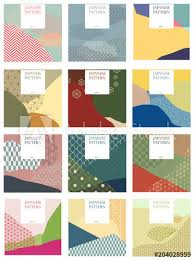 Wedding Card Collage Japanese Pattern Vector Season Background For Invitation Card