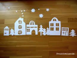 Fensterbild Häuser Im Winter Basteln Weihnachten Fenster