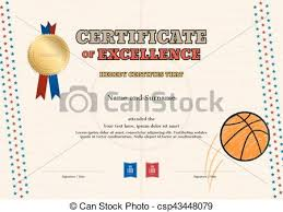 Certificate Outline Certificate Of Excellence Template In Sport Theme For Basketball Event With Basketball Court Outline Background