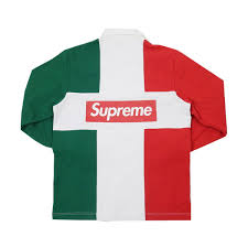supreme supreme 16 aw split rugby back box logo lager long sleeve shirt red white size