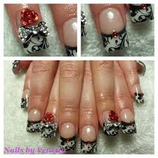 White French Acrylic Nails, Black Lace Stamping, Red 3D Bling Rose ...