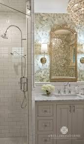 pretty bathrooms photos. pretty bathroom, subway tiles, sconces, chandelier, floral wallpaper bathrooms photos