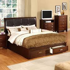 Furniture of America Enrico Brown Cherry King Bed with Storage at ...