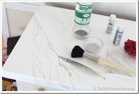 Small Picture Faux Carrara Marble Painting technique fo Makeover Furniture