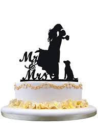 Amazoncom Cake Topper With Dog Pet Mr Mrs Bride And Groom